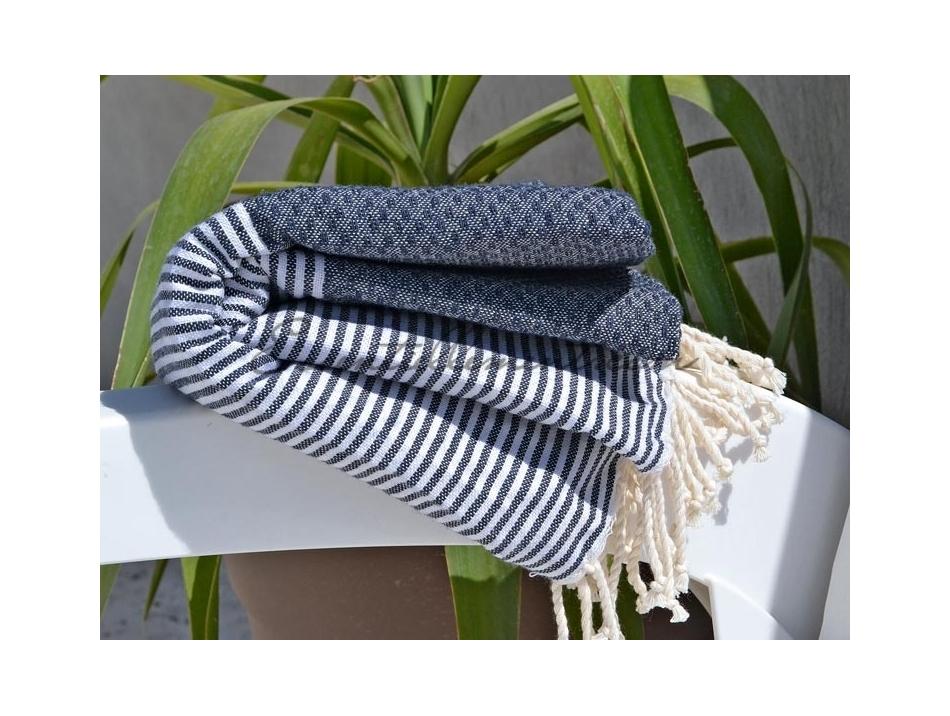 serviette fouta nid d 39 abeille bleu jean ray e blanc. Black Bedroom Furniture Sets. Home Design Ideas