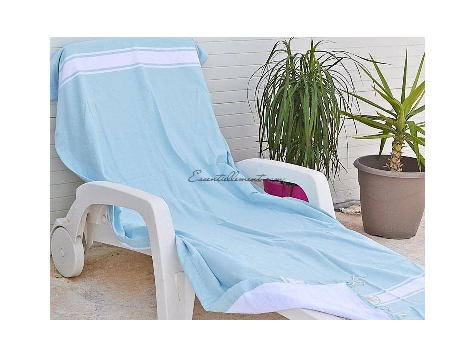 serviette fouta bleu ciel doubl e eponge blanche plate. Black Bedroom Furniture Sets. Home Design Ideas