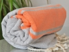 Fouta plate Bicolore Gris Lin / Orange
