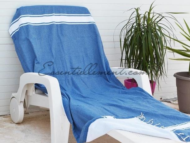 Fouta Doublée Eponge Bleu Grec - plate