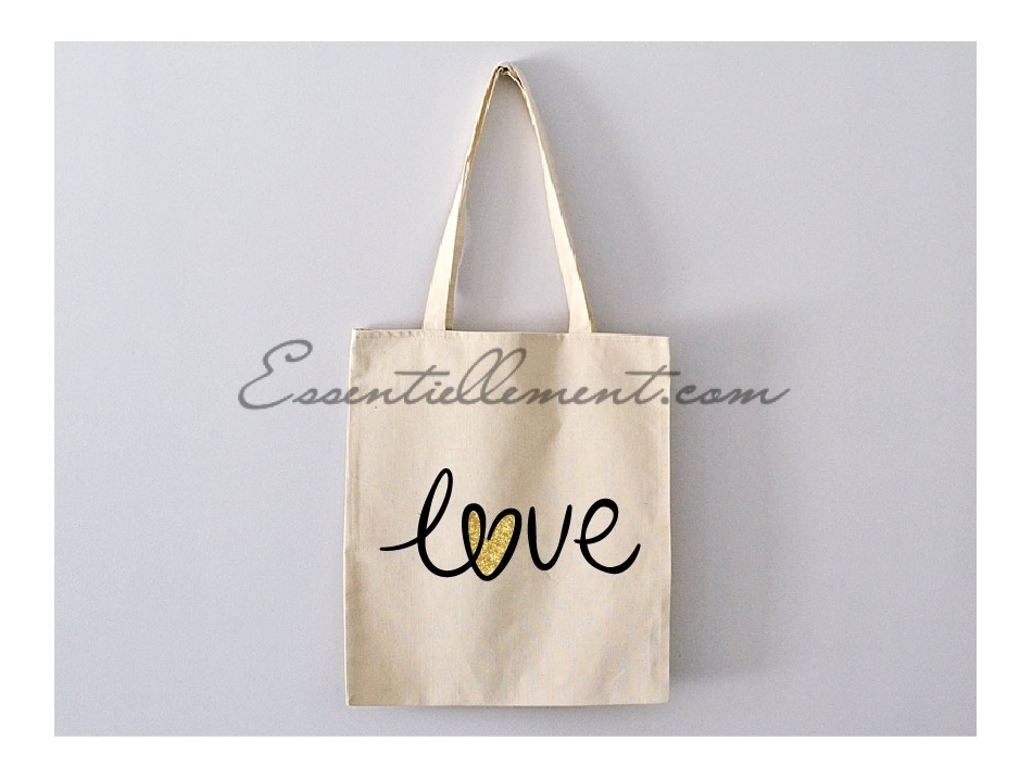 sac tote bag love avec coeur pas cher. Black Bedroom Furniture Sets. Home Design Ideas