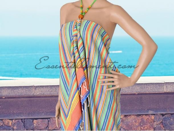 Robe de plage Janeiro Paréo rayée Jaune/ vert / bleu / orange