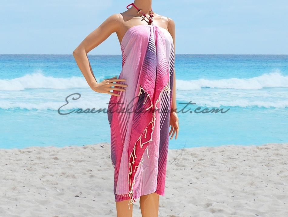 749e1b2f3ed Robe de plage Paréo Kuriat rayée Rose   Violet   Blanc en Fouta plate