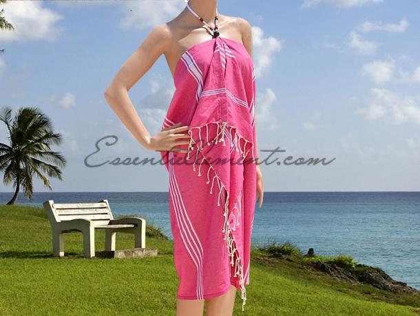 robe de plage par o anjuna rose fushia ray e blanc en. Black Bedroom Furniture Sets. Home Design Ideas