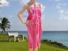 Robe de plage Anjuna rayée Fushia / Blanc en Fouta plate