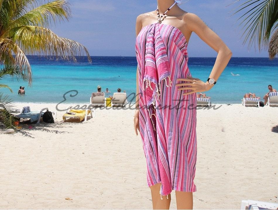 c2a76f81249 Robe de plage Paréo Mansoura rayée Rose   Lilas   Blanc en Fouta plate