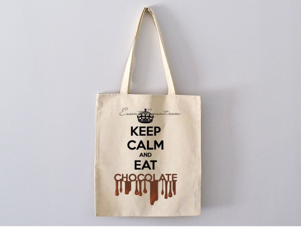 "Sac ToteBag ""keep calm and eat chocolate"""