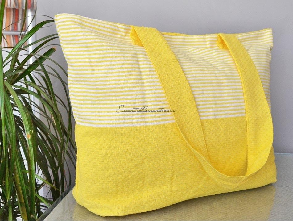 grand sac de plage jaune citron blanc en fouta. Black Bedroom Furniture Sets. Home Design Ideas