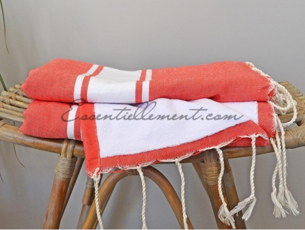 Fouta Rouge Corail Doublée Eponge Blanche - Plate
