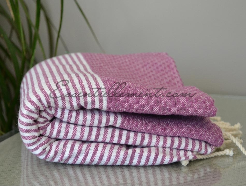 serviette fouta violet lilas ray e blanc nid d 39 abeille fouta pas cher. Black Bedroom Furniture Sets. Home Design Ideas