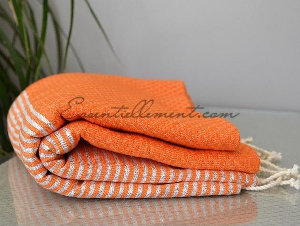 Fouta Lurex Orange rayée Argenté Nid d'Abeille