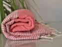 Fouta Lurex Rose Pastèque rayé Argent Plate