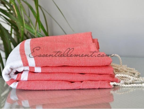 serviette fouta plate rose litchi classique pas cher. Black Bedroom Furniture Sets. Home Design Ideas
