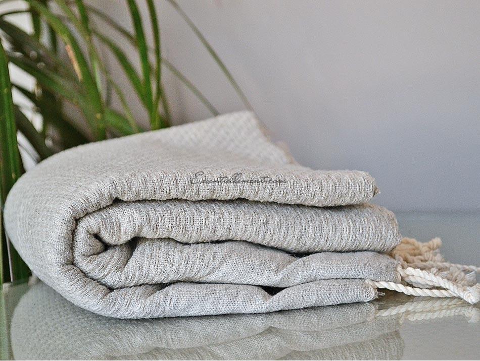 serviette fouta nid d 39 abeille gris lin unie. Black Bedroom Furniture Sets. Home Design Ideas