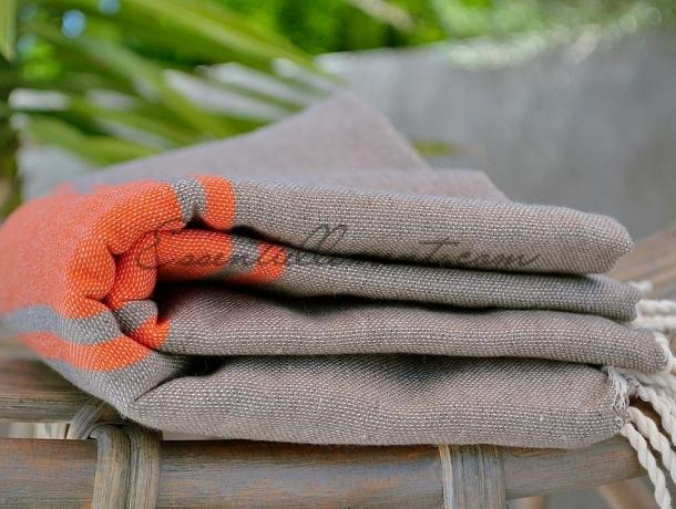 Fouta plate Bicolore Gris Taupe / Orange