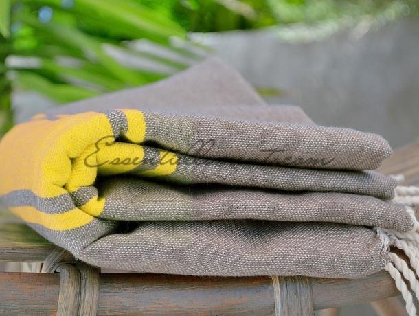 serviette fouta bicolore gris taupe jaune citron. Black Bedroom Furniture Sets. Home Design Ideas