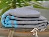 Fouta Plate Bicolore Gris Dauphin / Bleu Caraïbes
