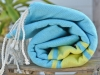 Fouta plate Bicolore Bleu Caraïbes / Anis
