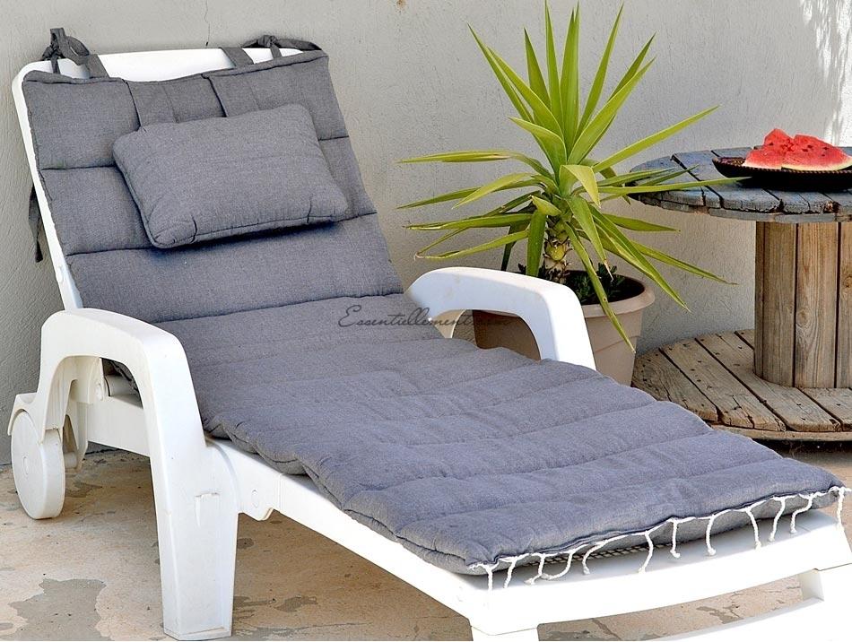 matelas bain de soleil de transat gris ardoise uni. Black Bedroom Furniture Sets. Home Design Ideas