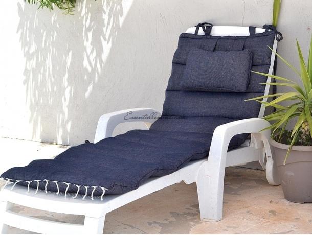 Matelas bain de soleil de transat bleu marine uni matelas - Matelas de plage pliable avec repose tete ...