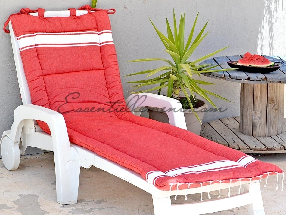 matelas de transat rouge classique en fouta matelas bain de soleil. Black Bedroom Furniture Sets. Home Design Ideas