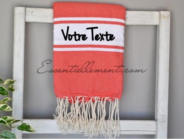 Serviette Fouta plate à Personnaliser Rouge Corail