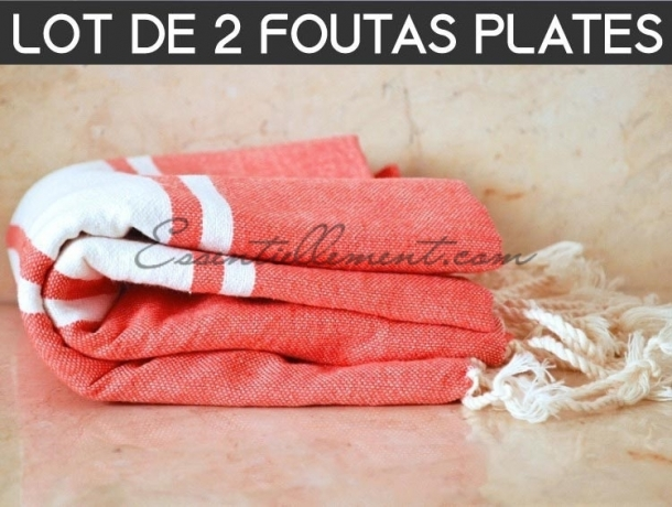 Lot 2x Fouta plate Rouge Corail