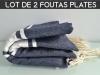 Lot 2x Fouta plate Bleu Marine