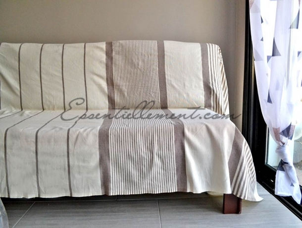 Fouta XXL plate Ivoire rayée Gris Taupe
