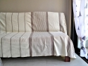 Grande Fouta XXL plate Ivoire rayée Gris Taupe