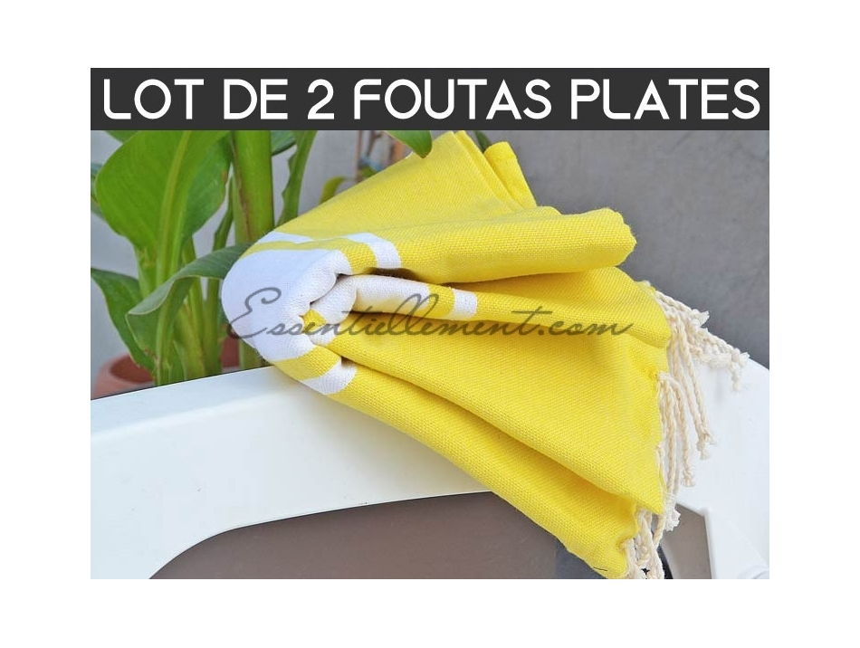 grossiste fouta lot de 2 foutas plate jaune citron. Black Bedroom Furniture Sets. Home Design Ideas