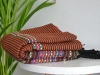 Fouta plate Arabesque rayée Marron rayée Orange / Rose / Bleu / Anis