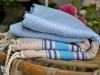 Fouta Marina Bleu Ciel rayée Beige Lin / Bleu Grec / Tahiti / Marine - Nid d'abeille