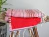 Fouta Doublée Arabesque Rose Pêche / Rouge / Prune éponge Rouge - Plate