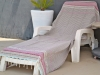 Fouta plate Arabesque Taupe Lin rayée Chocolat / Rose / Ciel