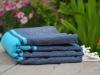 Fouta Plate Bicolore Bleu Marine / Bleu Caraïbes