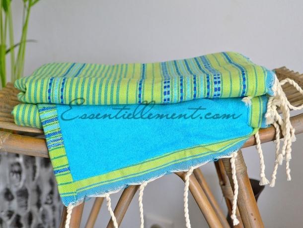 Fouta Doublée Arabesque Vert Anis / Bleu Canard / Turquoise éponge Caraïbes - Plate
