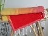 Serviette Fouta Doublée Jaune / Orange / Rouge Eponge Rouge - Plate