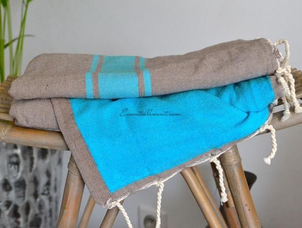 Fouta Gris Taupe / Bleu Caraïbes Doublée Eponge Caraïbes - Plate