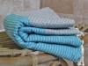 Fouta Gris Clair rayée Bleu Caraïbes - Nid d'abeille