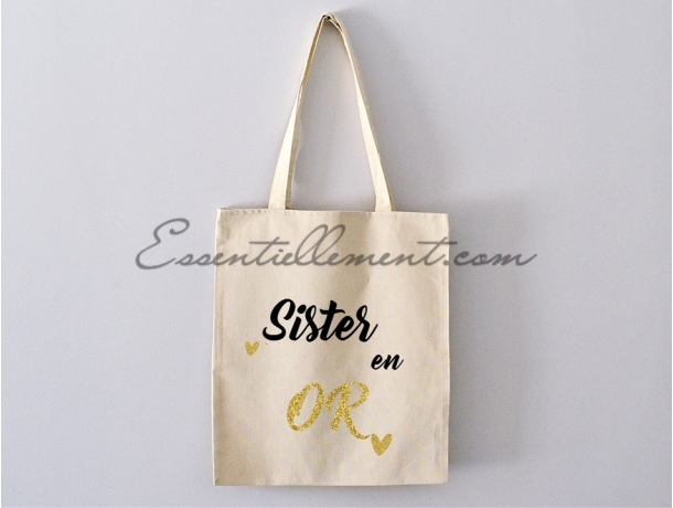 "Sac Tote bag ""Sister en or"""