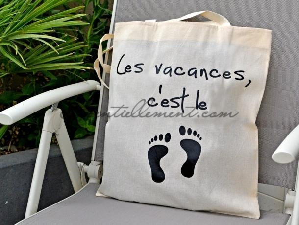 """Sac ToteBag """"Les vacances, c'est le pied"""""""