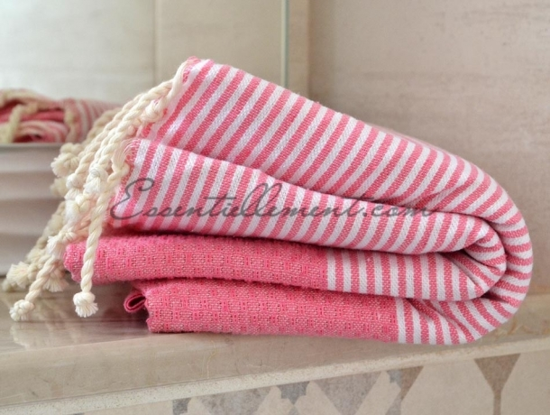 Fouta Nid d'abeille Rose Chewing gum rayée Blanc