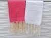 Lot 2 Petites serviette Fouta Blanc/Fushia - Nid d'Abeille