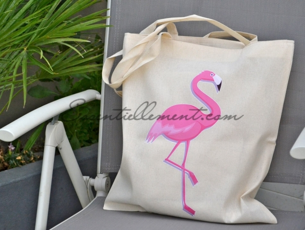 "Sac Tote bag ""Flamingo, Flamant Rose"""