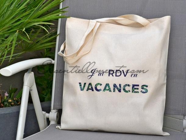 """Sac Tote Bag """"J'ai RDV en Vacances"""""""