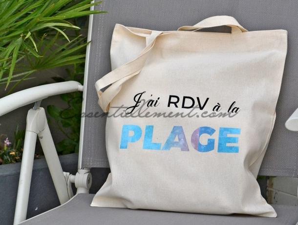 "Sac Tote Bag ""J'ai RDV à la plage"""