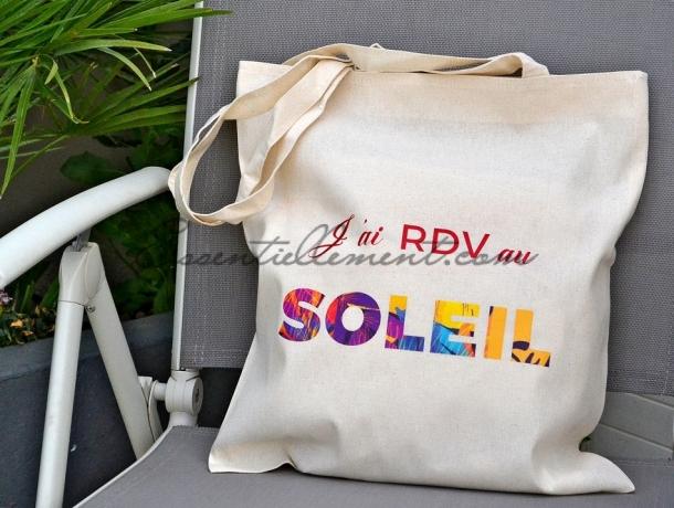 """Sac Tote Bag """"J'ai RDV au soleil"""""""