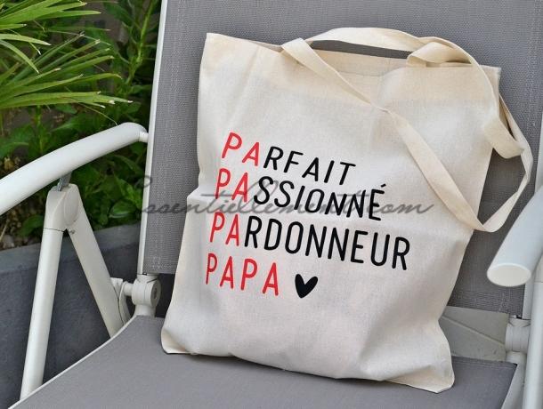 """Sac ToteBag """" Parfait Passionné Pardonneur Papa"""""""