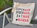 """Sac ToteBag """"Superman, Spiderman, Batman, Maman"""""""